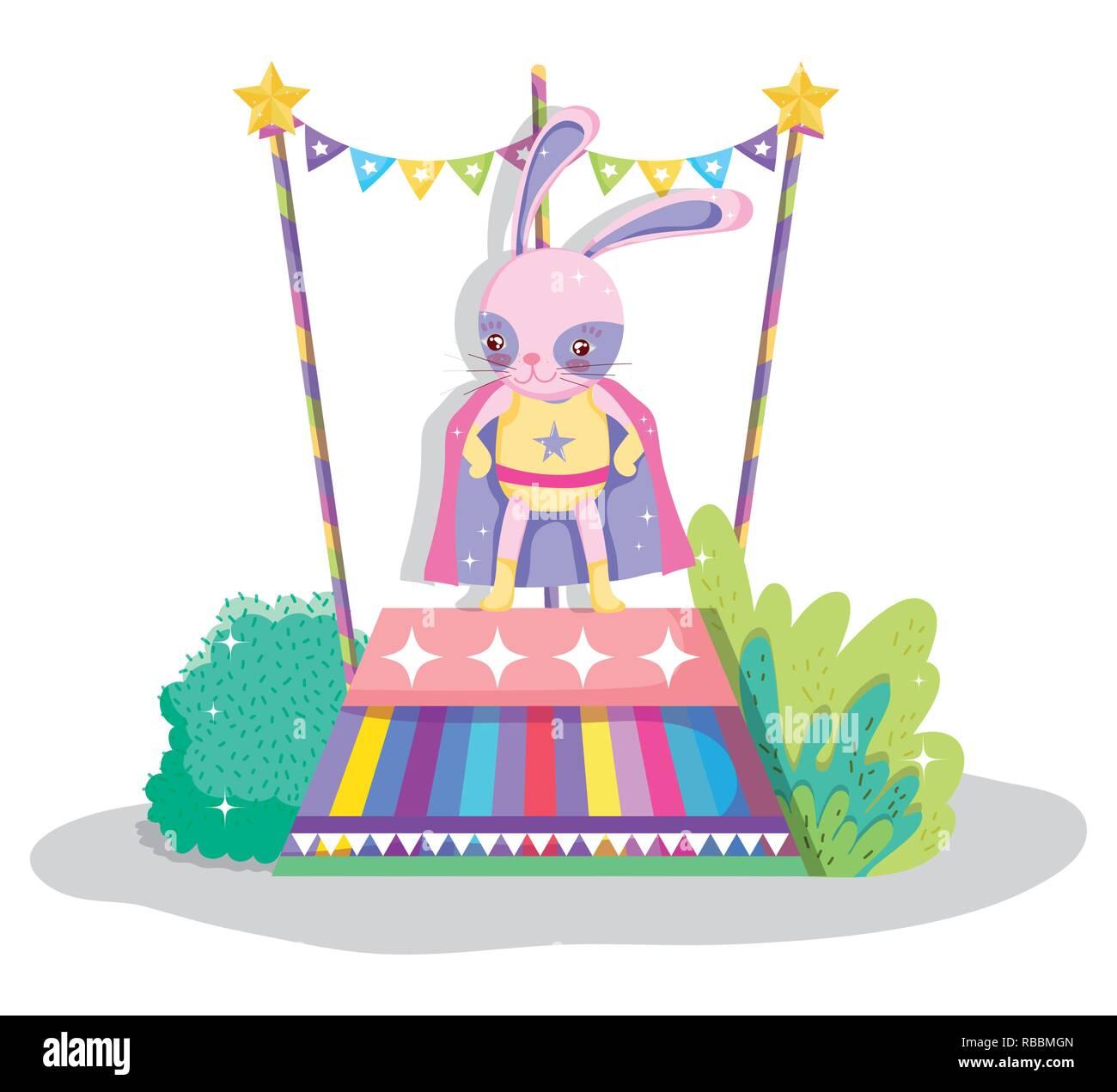 rabbit hero costume to circus show - Stock Vector