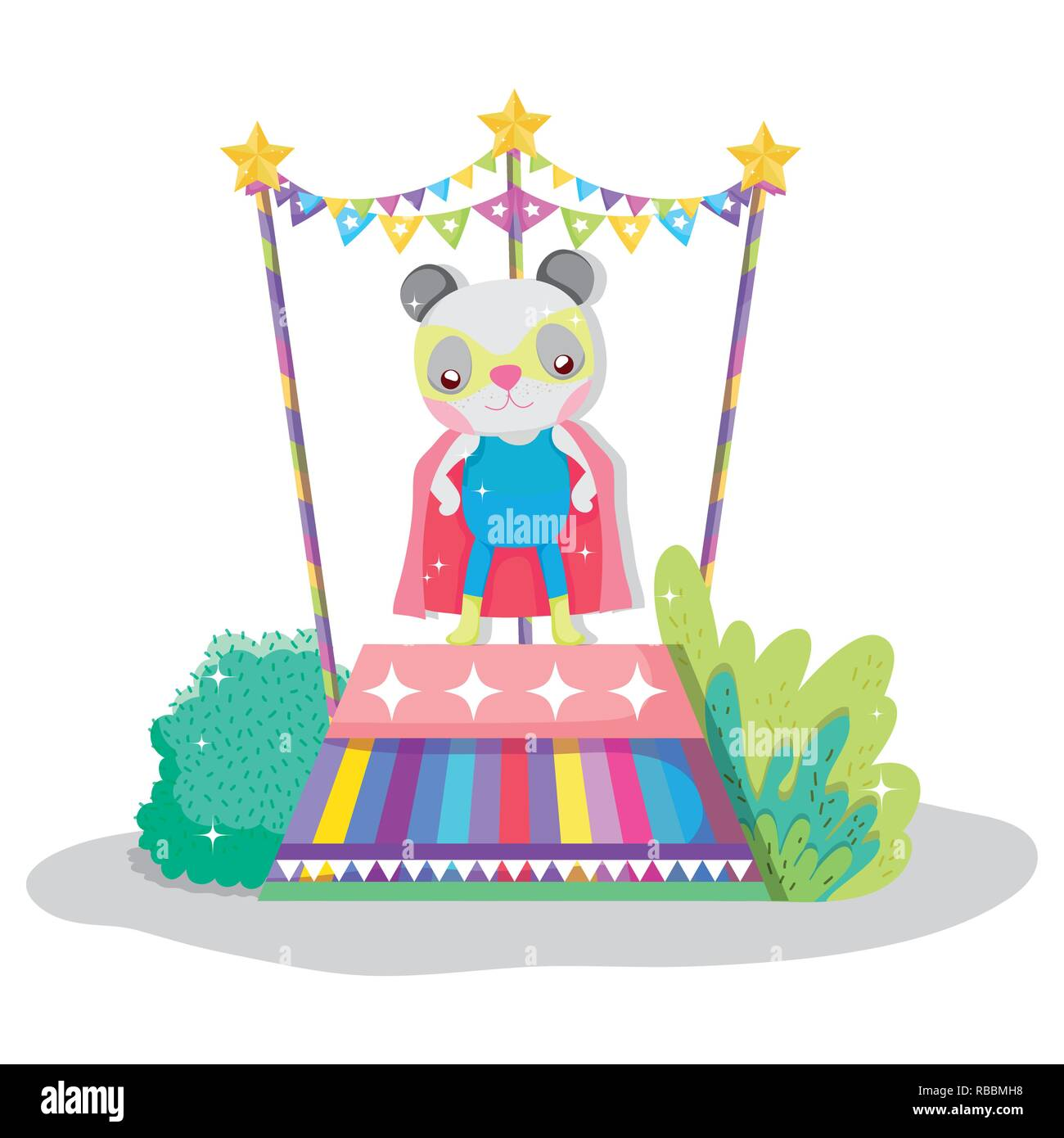 panda hero costume to circus show - Stock Vector