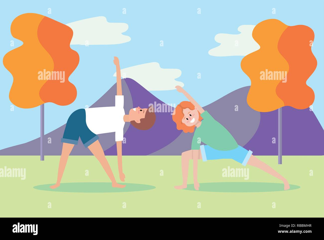 man and woman practice yoga pose - Stock Vector