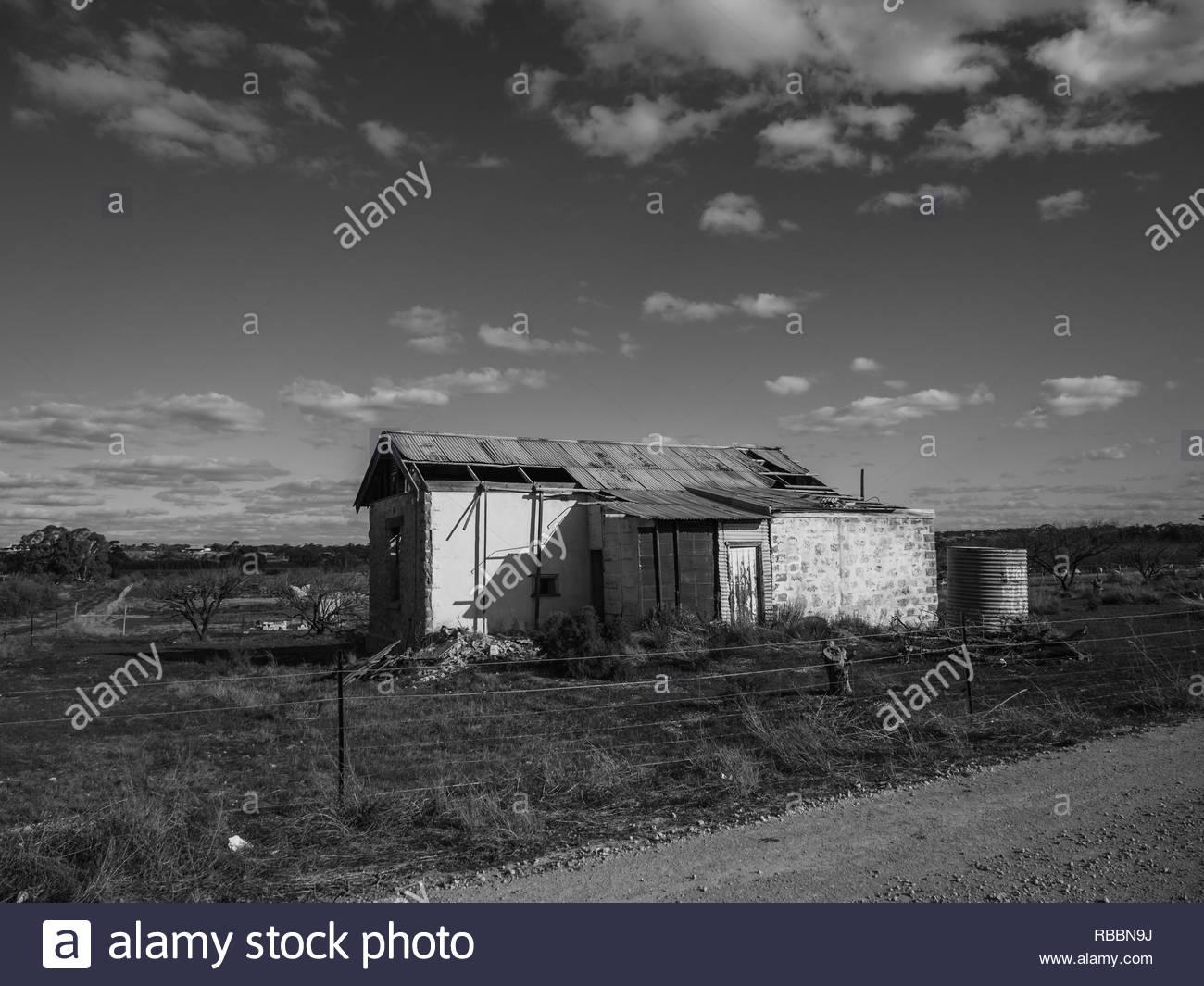 Old Stone Farmhouse near Cadell, SA - Black and White Stock Photo