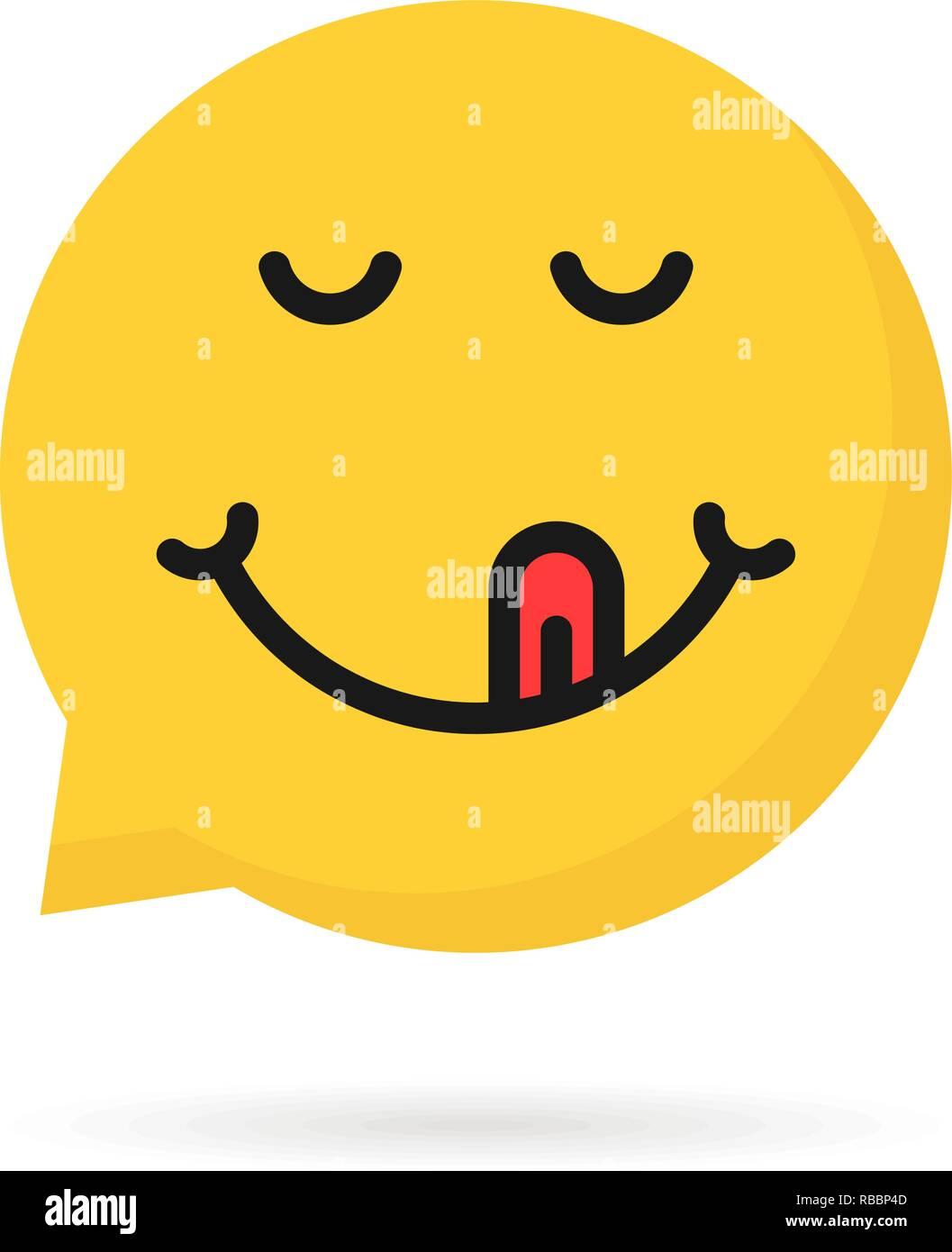 yummy emoji speech bubble logo Stock Vector Art & Illustration