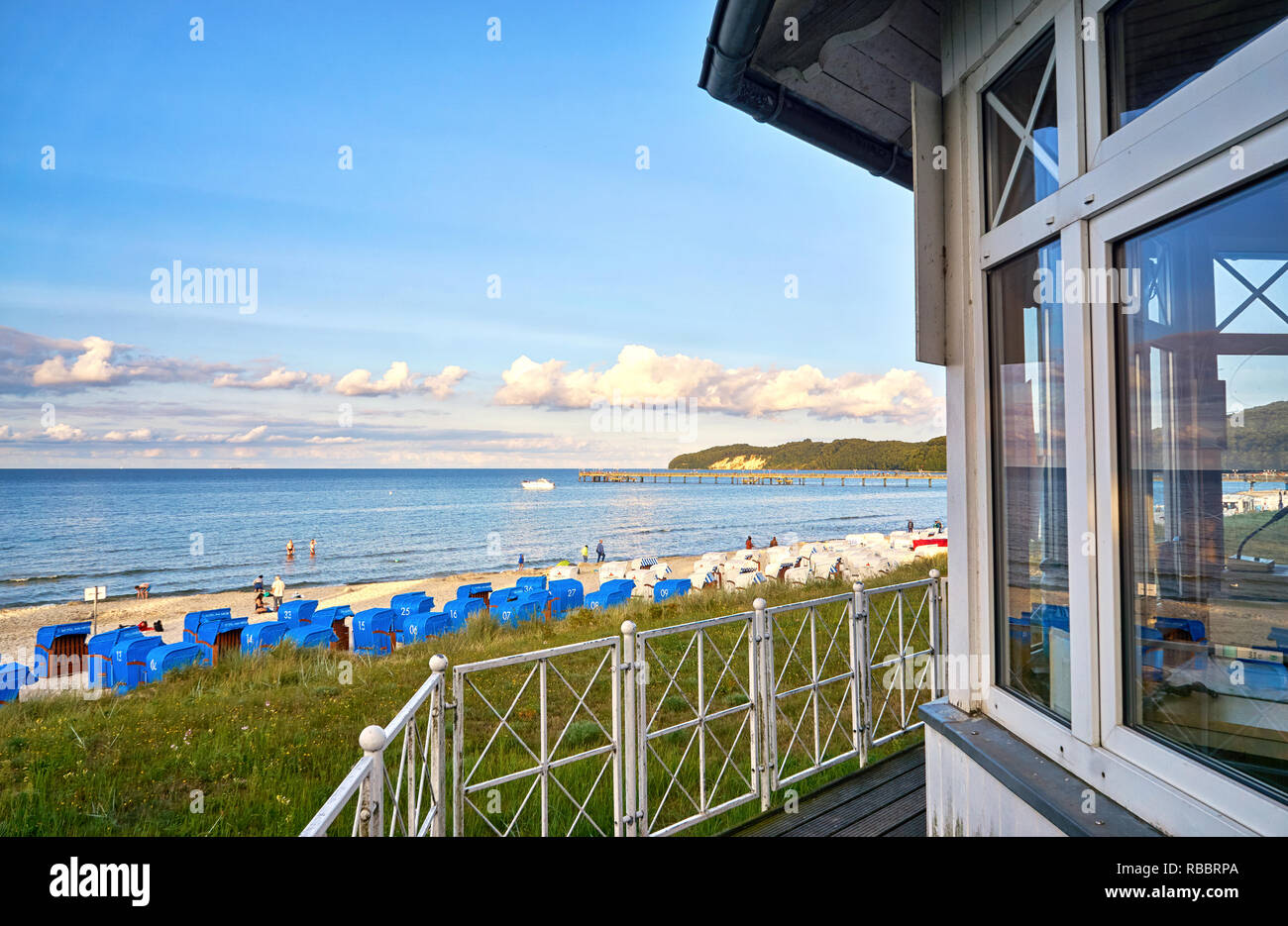 View from lifeguard tower onto the beach with beach chairs. Binz on the island of Rügen. - Stock Image