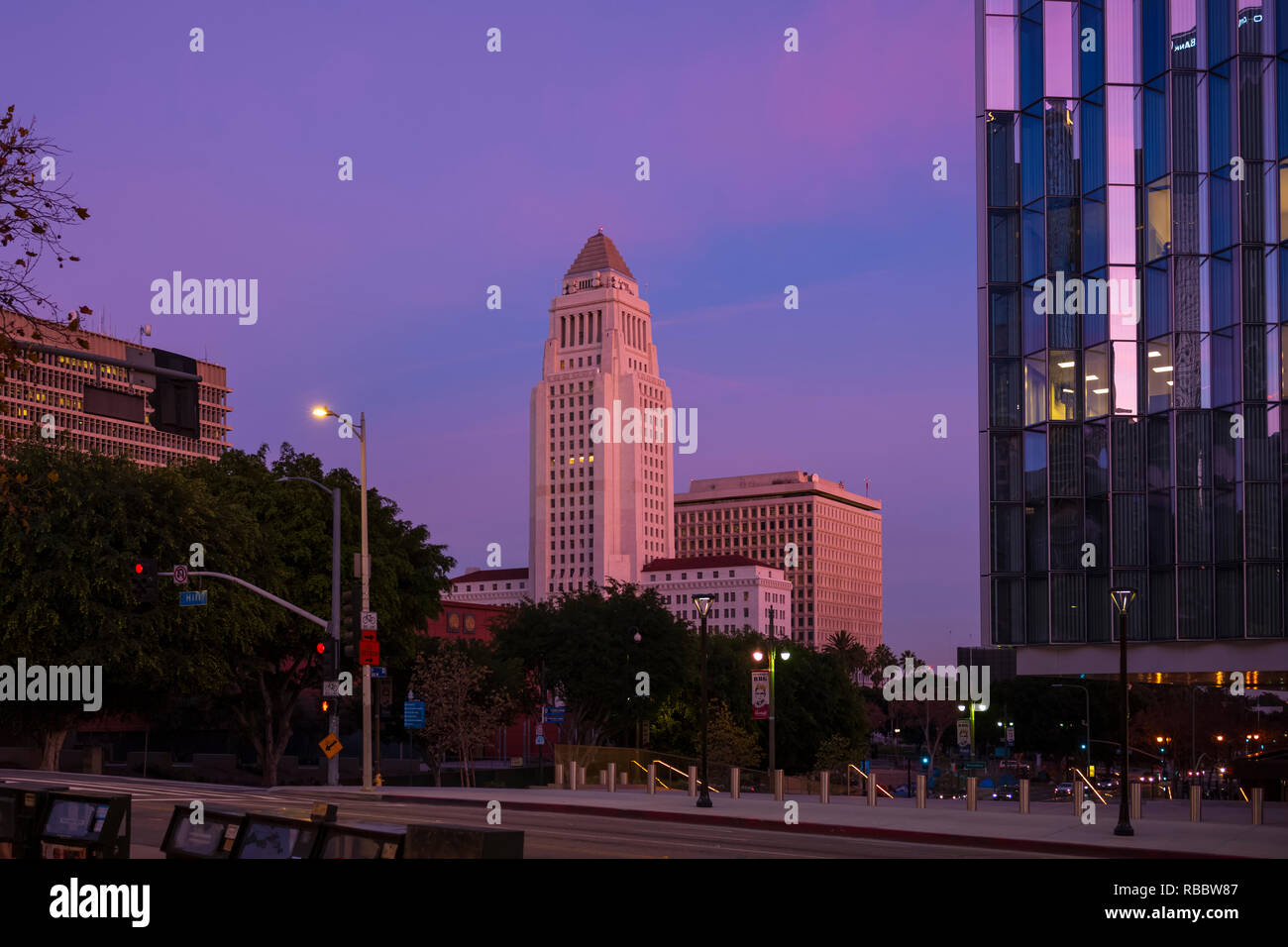 Los Angeles City Hall at downtown Los Angeles, California. - Stock Image