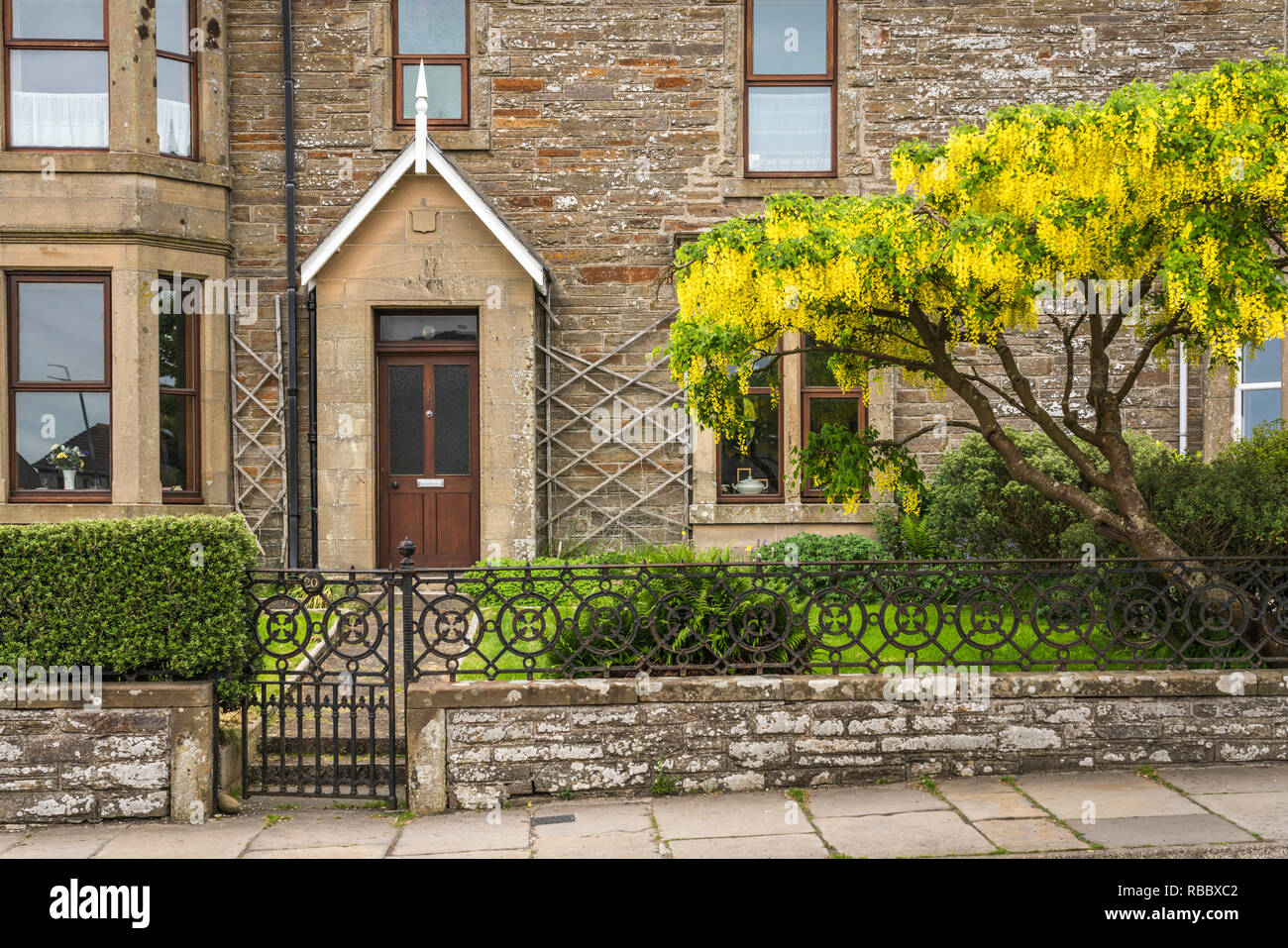 A stone residential building in Kirkwall, Orkney Isles, Scotland, United Kingdom, Europe. - Stock Image