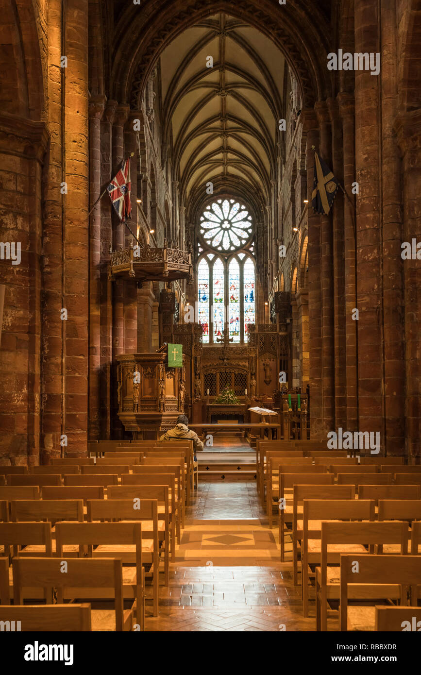 The St. Magnus Cathedral interior sanctuary in Kirkwall, Orkney Isles, Scotland, United Kingdom, Europe. - Stock Image
