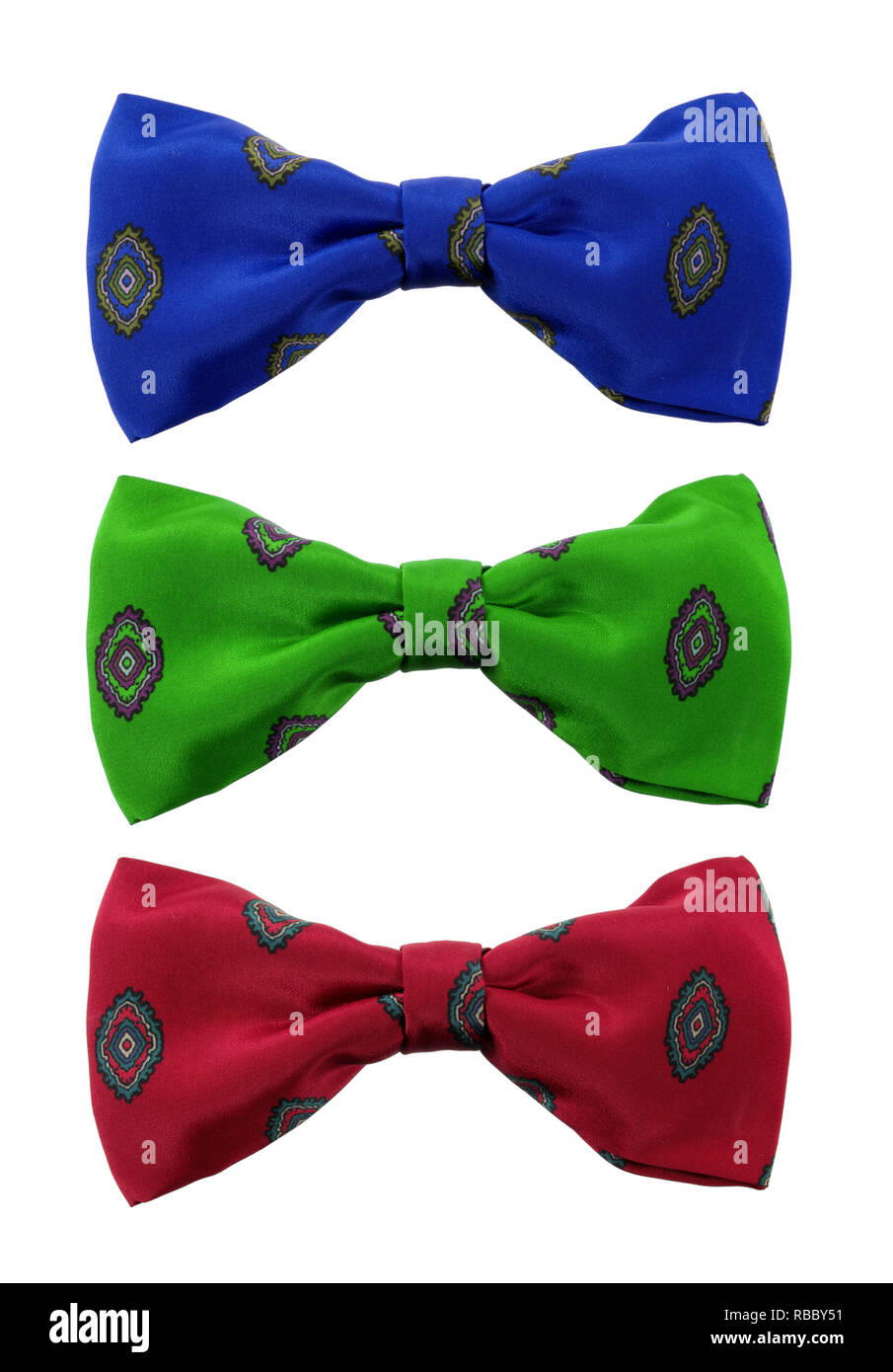 Bow Ties on White Background - Stock Image