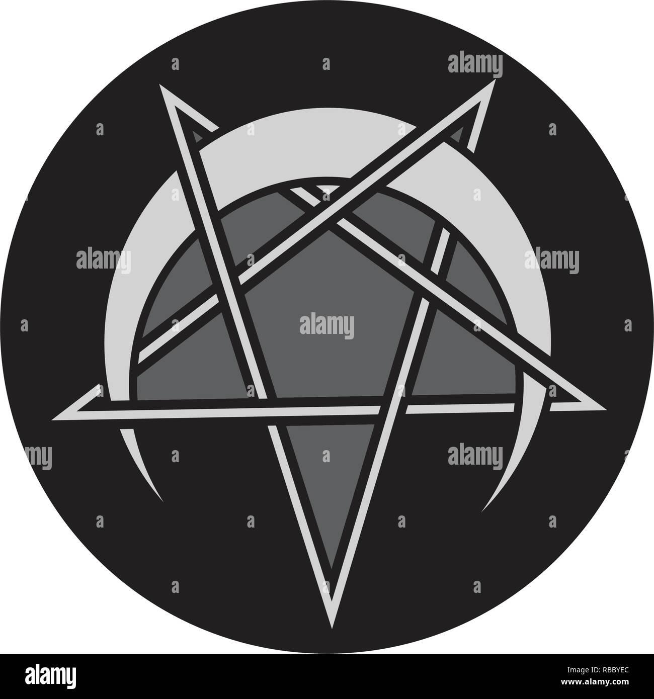 Reversed or Inverted Pentagram with upside down crescent