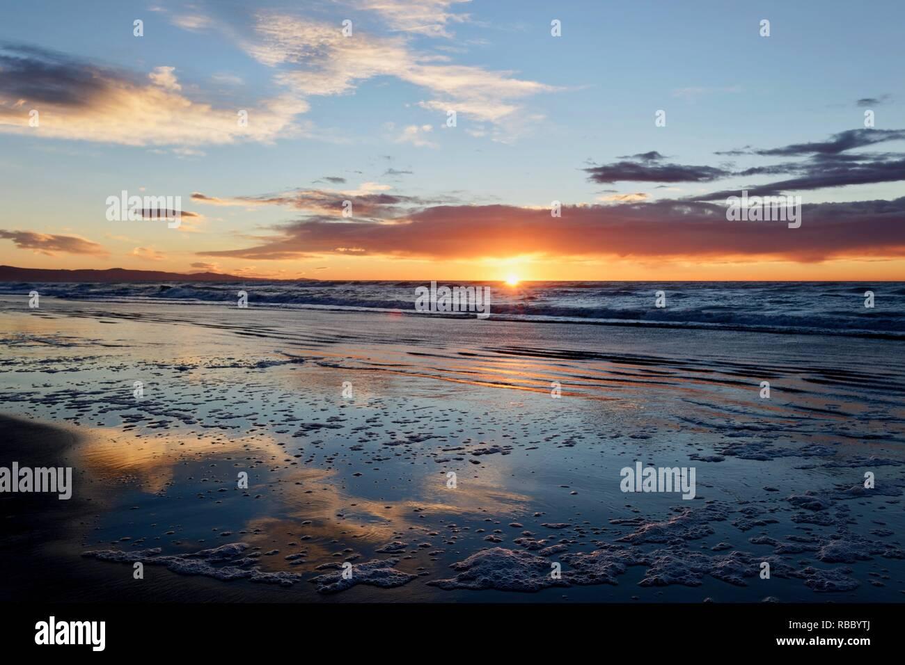 New Zealand Sunrise Waikuku Beach Stock Photo