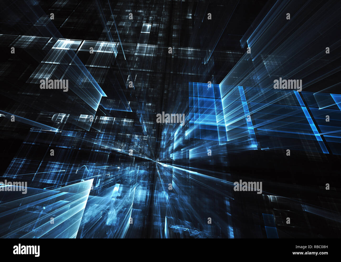 Computer generated abstract tehnology image. Three-dimensional 3D fractal, texture - Stock Image