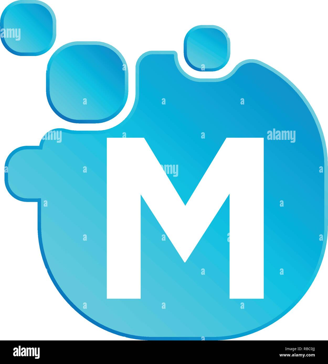 Letter m Bubble logo template or icon vector illustration