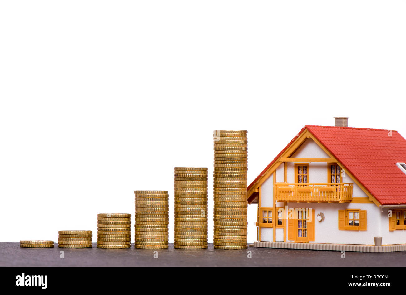 chart of Euro coins with model home - Stock Image