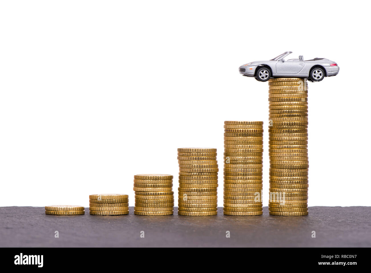 chart of Euro coins with car on top - Stock Image
