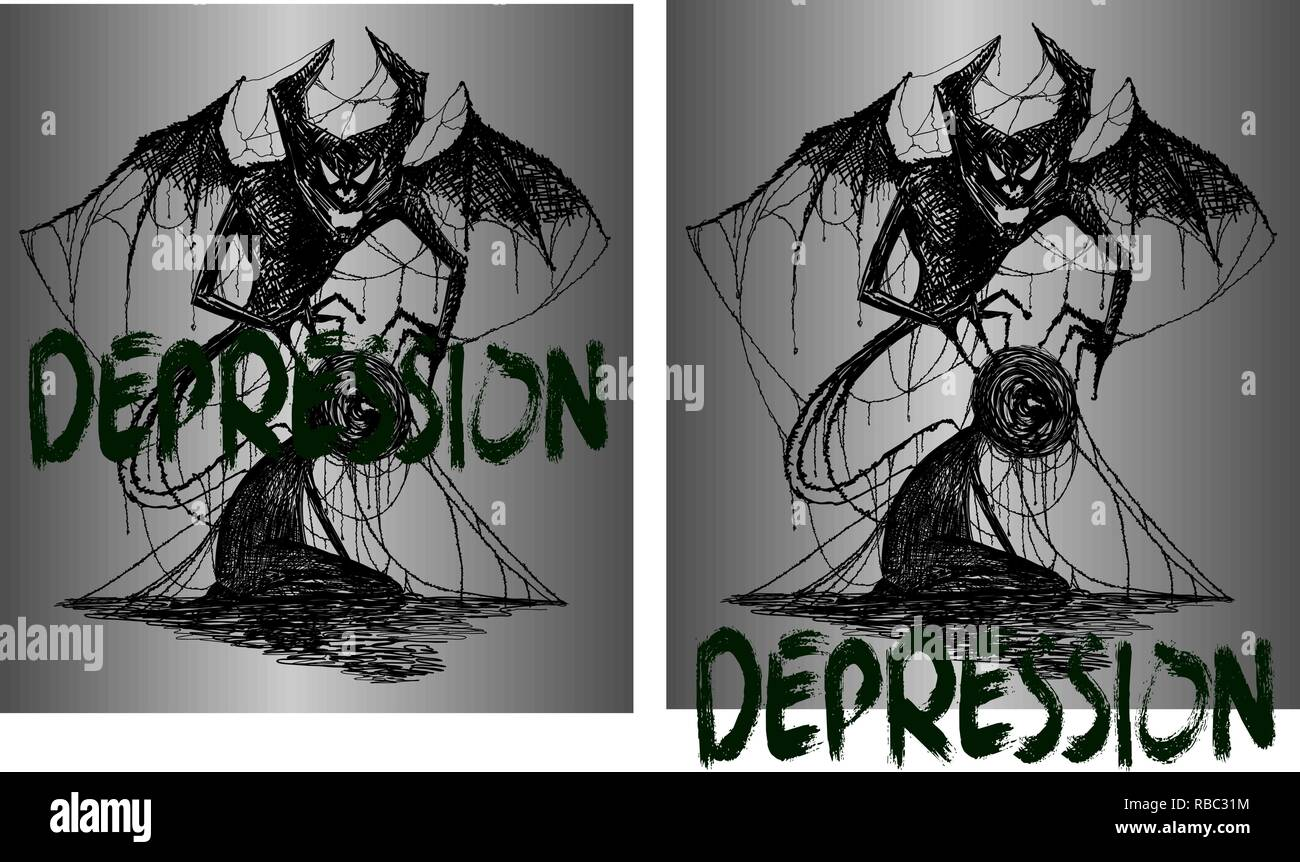 drawing for tattoo or t-shirts demon and a man entangled in depression - Stock Vector