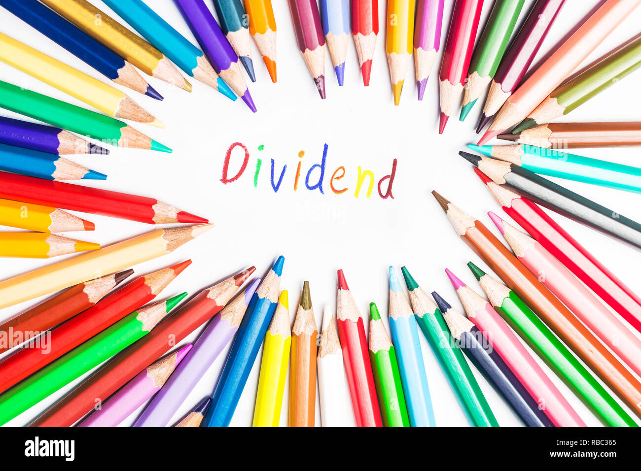 Dividend drawing by colour pencils - Stock Image
