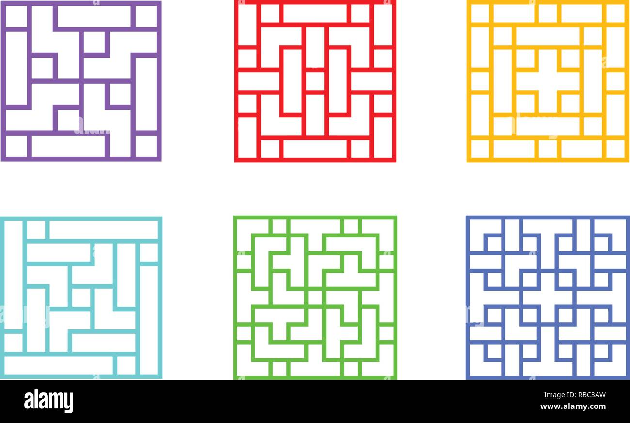 Set of Square Chinese window frame, vector art design Stock
