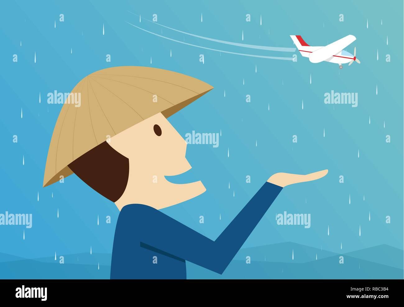 Farmers are happy after receiving artificial rain, vector art - Stock Vector