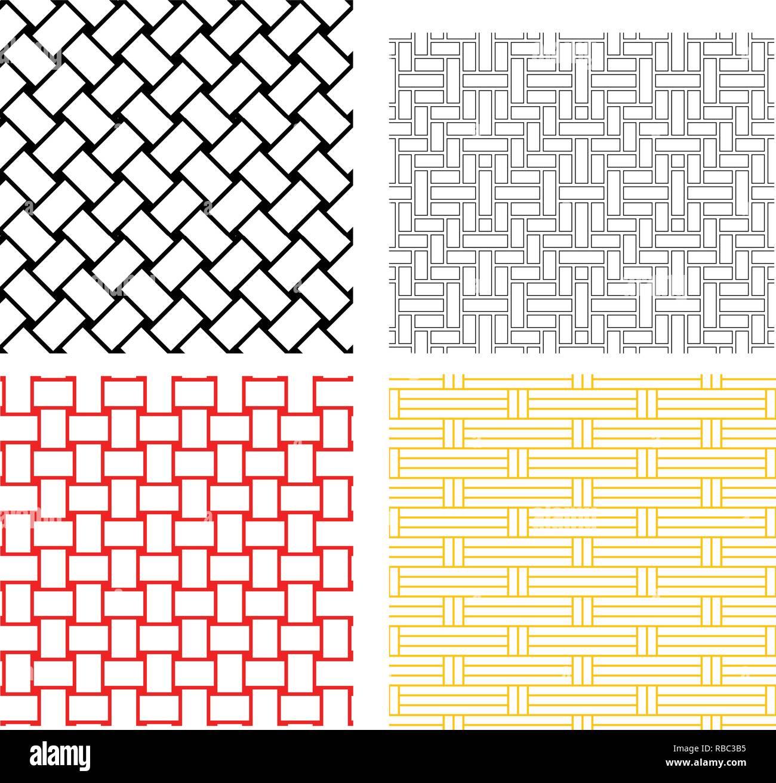 Seamless weave rattan pattern in silhouette vector art - Stock Vector