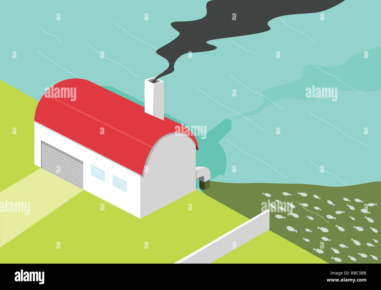 Bad factory make black smoke and water pollution, vector art Stock Vector