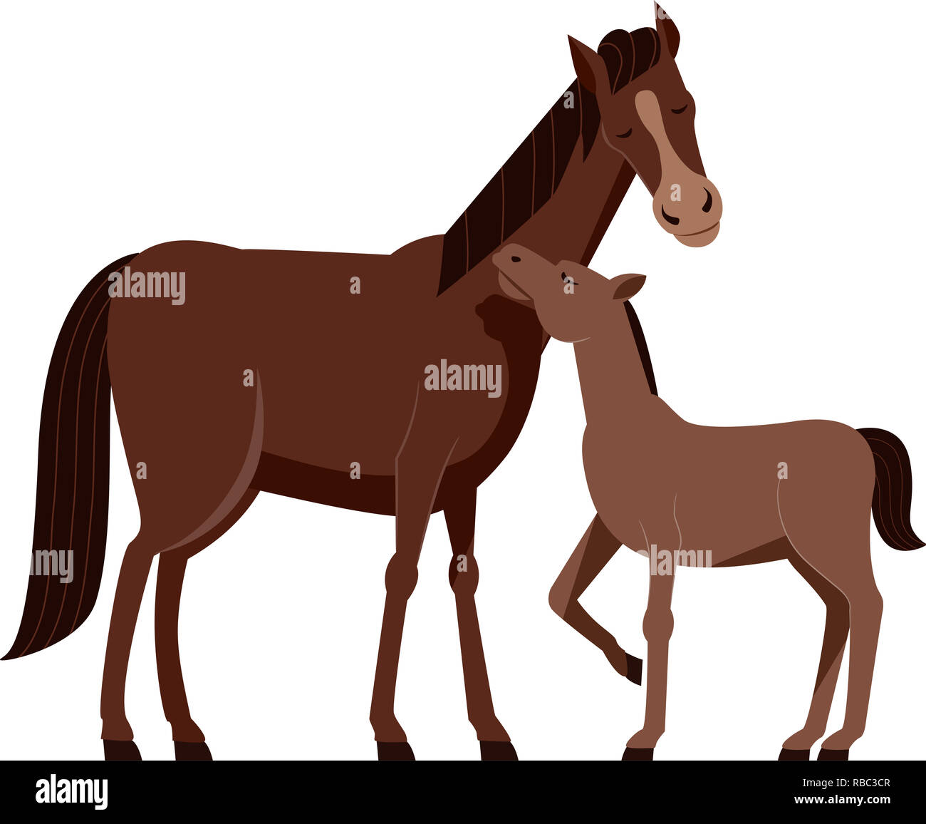 Illustration Of A Mother Horse With Her Young Baby Horse Called Foal Stock Photo Alamy