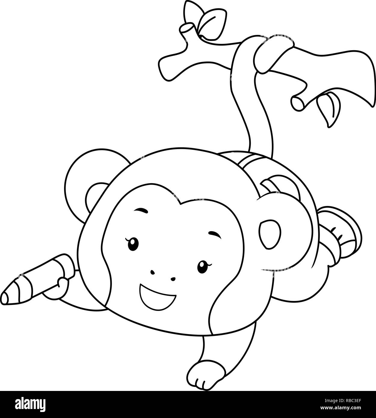 Coloring Illustration of a Monkey Hanging on a Branch ...