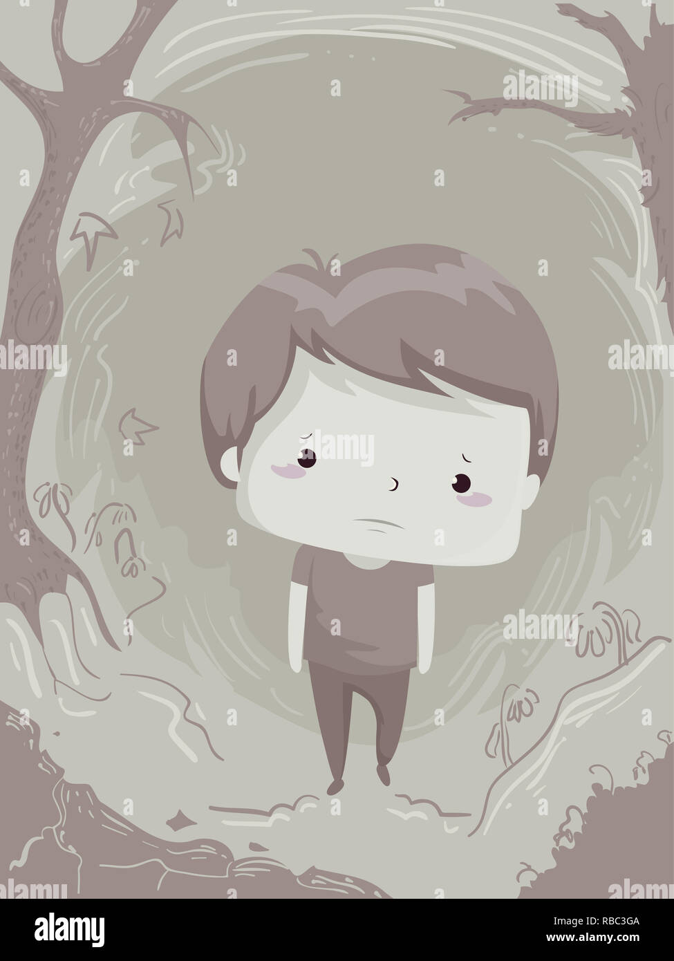 Illustration Of A Sad Kid Boy Walking Alone And Depressed In The Woods Stock Photo Alamy
