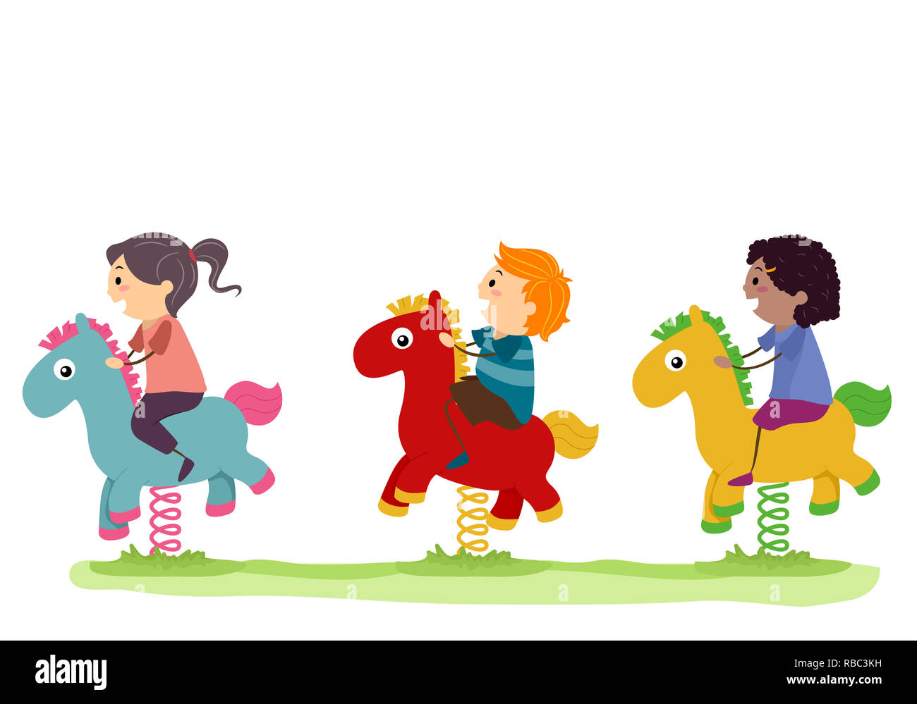 Illustration Of Stickman Kids Riding A Horse Rocker In The Playground Stock Photo Alamy