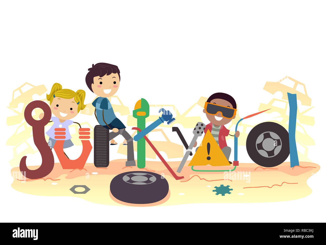 Illustration of Stickman Kids among Junk with Junkyard Lettering - Stock Image