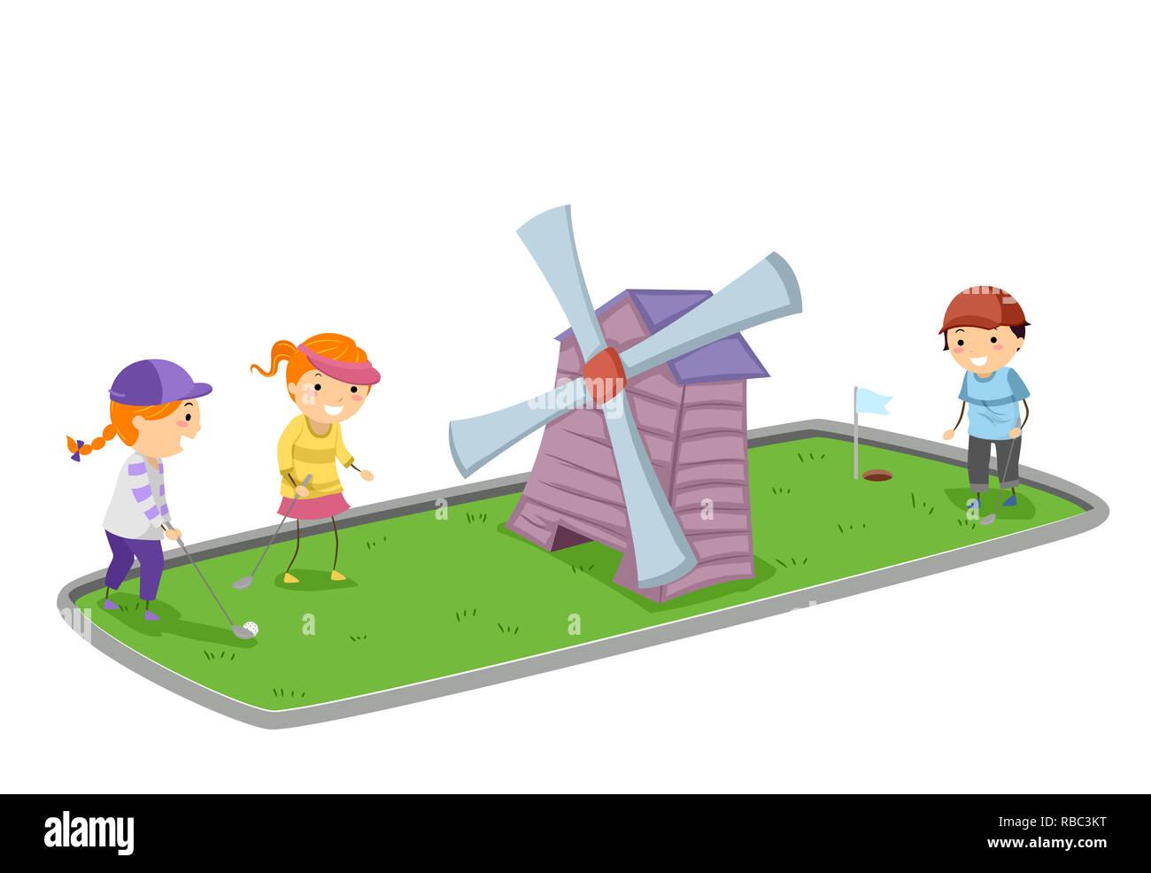 Illustration Of Stickman Kids Playing Mini Golf With A Wind Mill Stock Photo Alamy