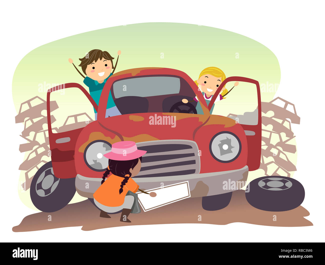 Illustration of Stickman Kids Playing with a Junk Car in the Junkyard - Stock Image