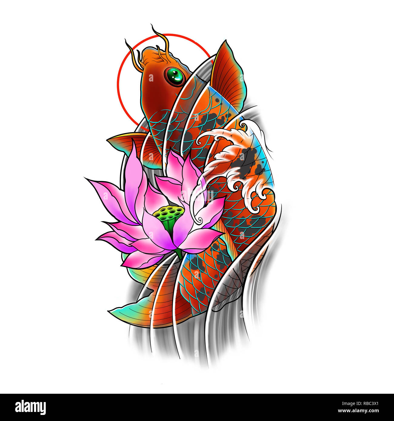 Hand Drawn Koi Fish With Lotus Flower And Water Wave Tattoo Design