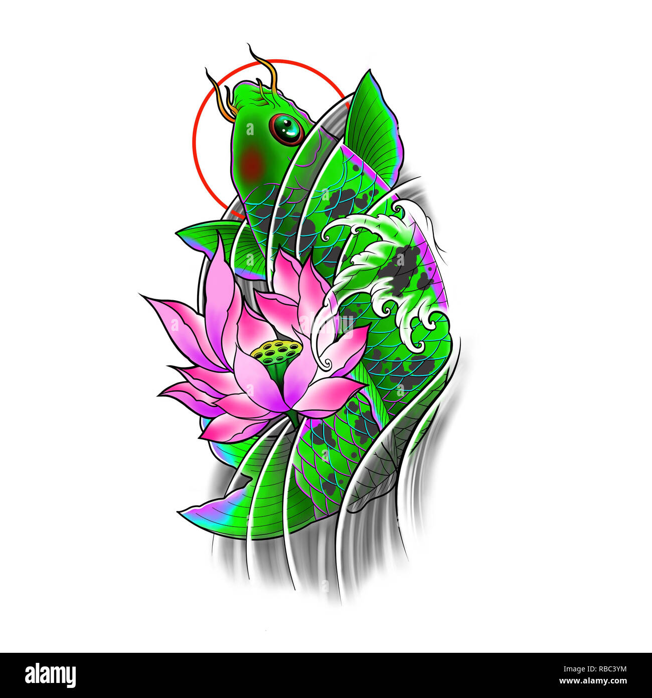 1c7486c416b8c Hand drawn koi fish with lotus flower and water wave tattoo design, Digital  art painting, Japanese tattoo style, tattoo flash image.