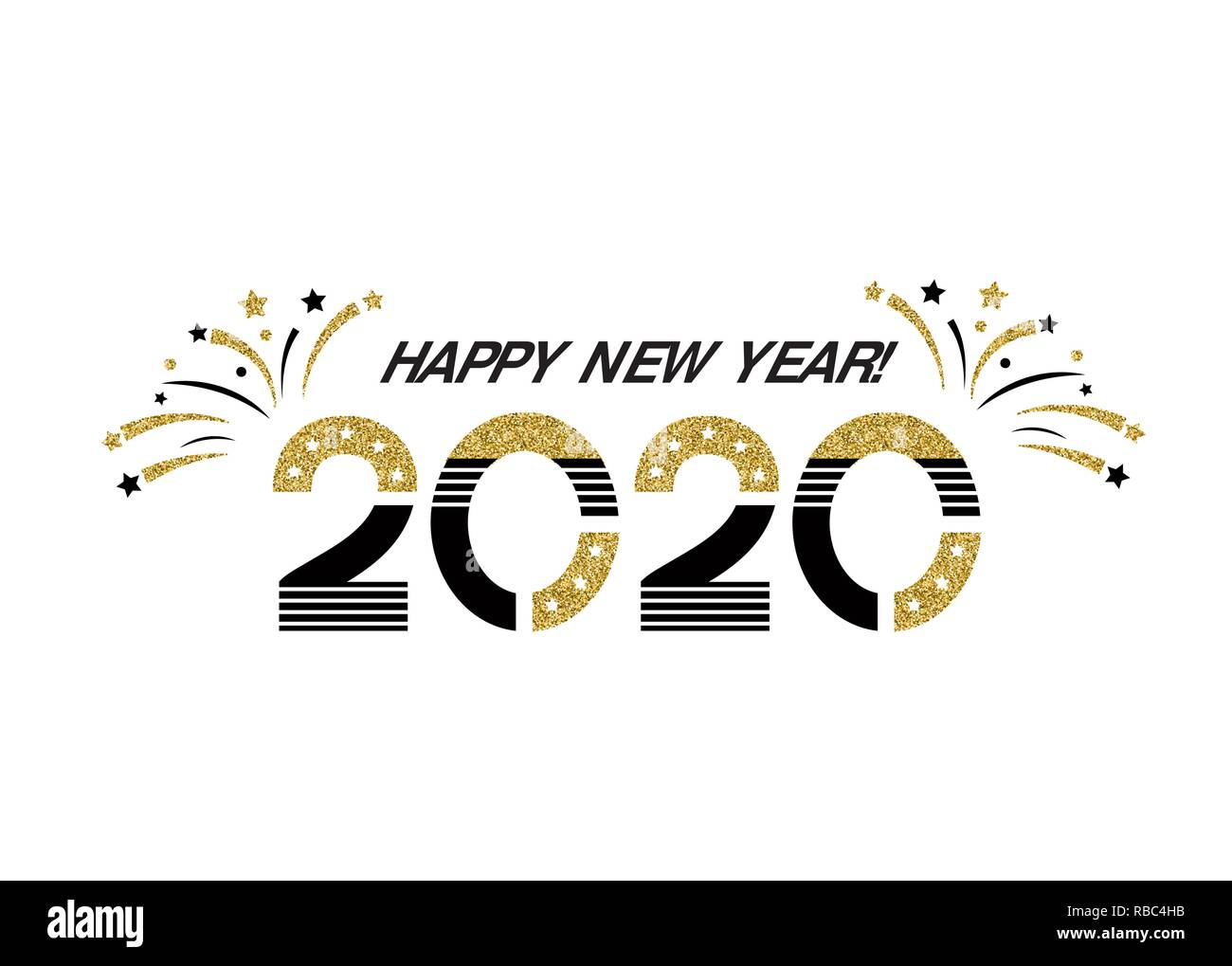 Happy New Year 2020 Glitter Vector 2020 Happy New Year sign with golden glitter texture
