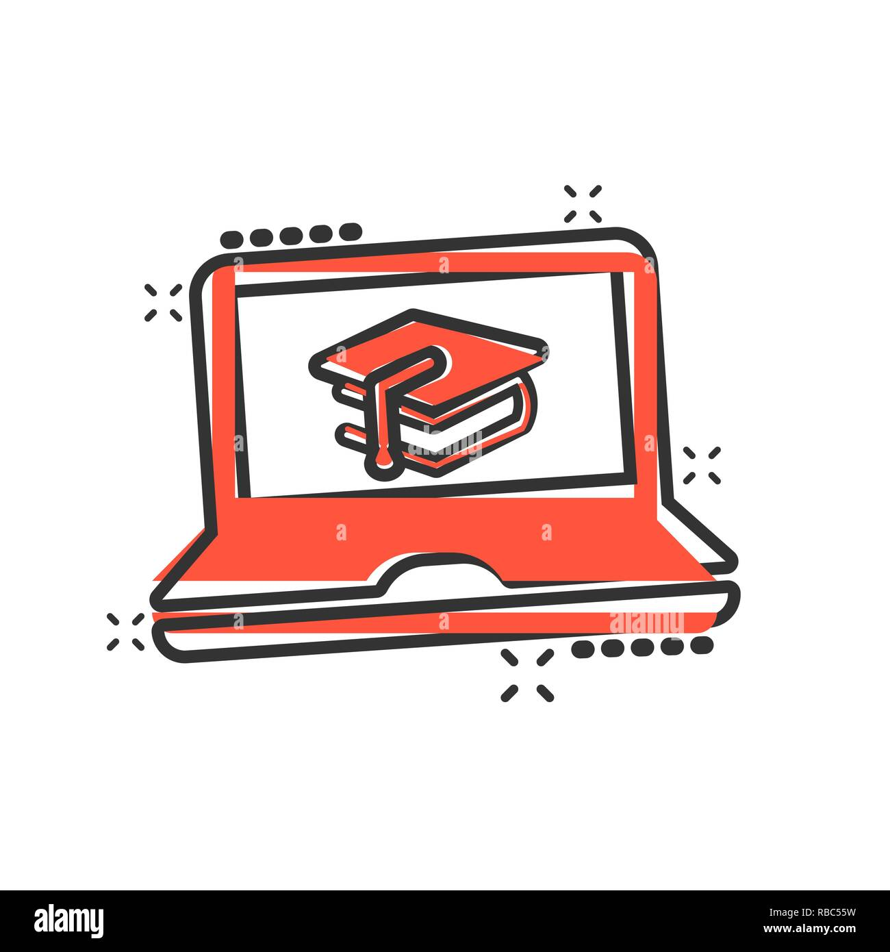 Elearning education icon in comic style study vector cartoon illustration pictogram laptop computer online training business concept splash effect