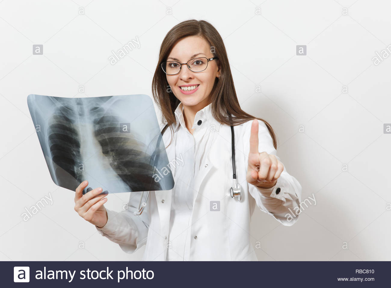 Doctor woman touch something like click on button, X-ray of lungs fluorography roentgen isolated on white background. Female doctor in medical gown stethoscope glasses. Healthcare personnel. Pneumonia - Stock Image