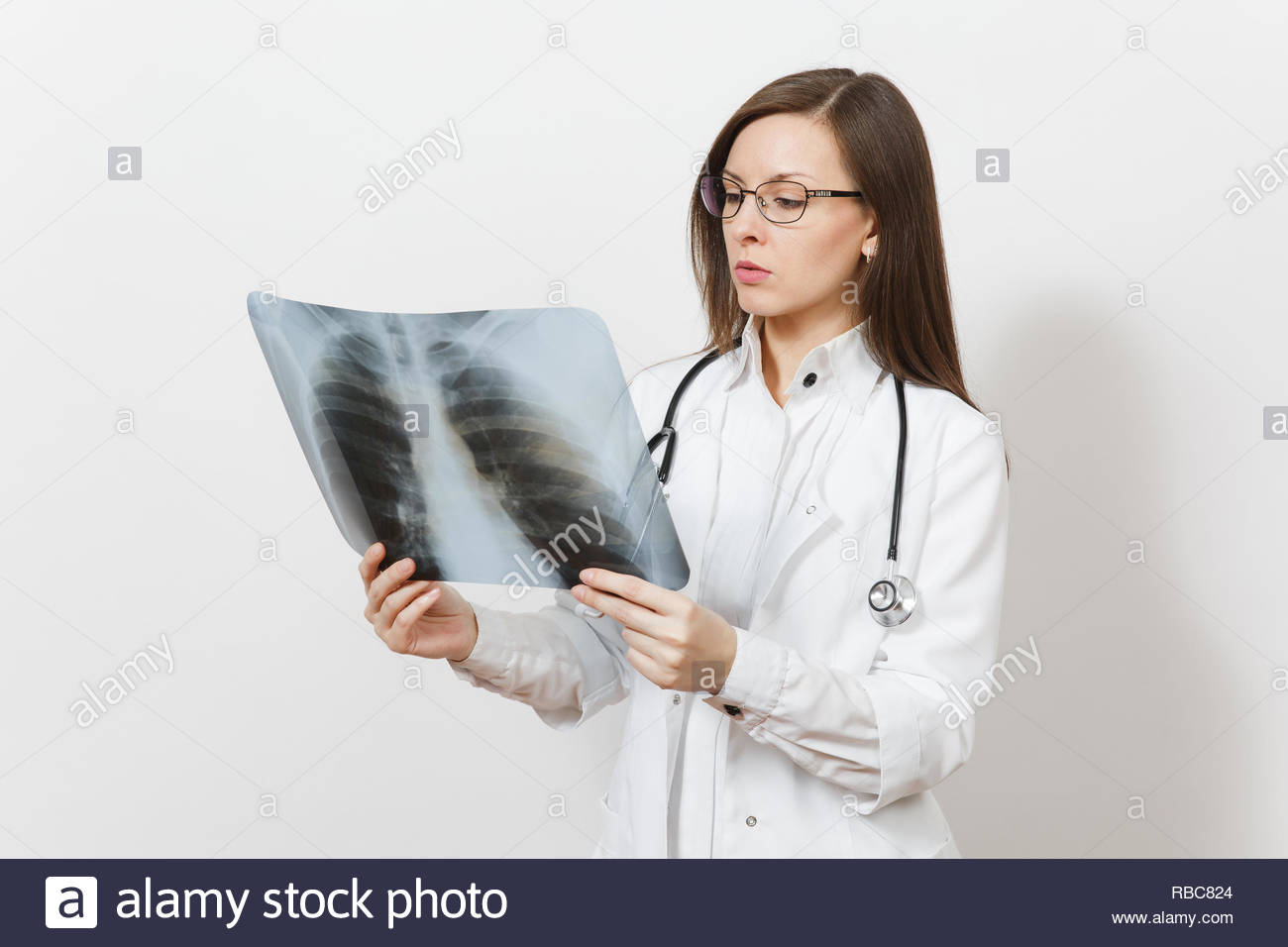 Beautiful doctor woman with X-ray of lungs, fluorography, roentgen isolated on white background. Female doctor in medical gown stethoscope glasses. Healthcare personnel, medicine concept. Pneumonia. - Stock Image