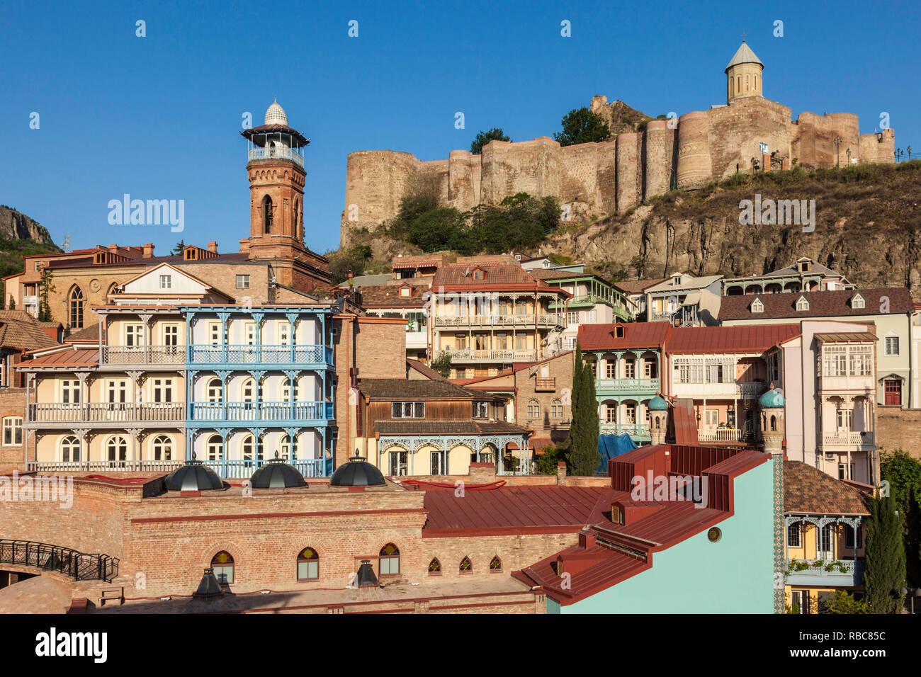 Georgia, Tbilisi, Old Town, Muslim Quarter, Tbilisi Mosque and Narikala Fortress Stock Photo