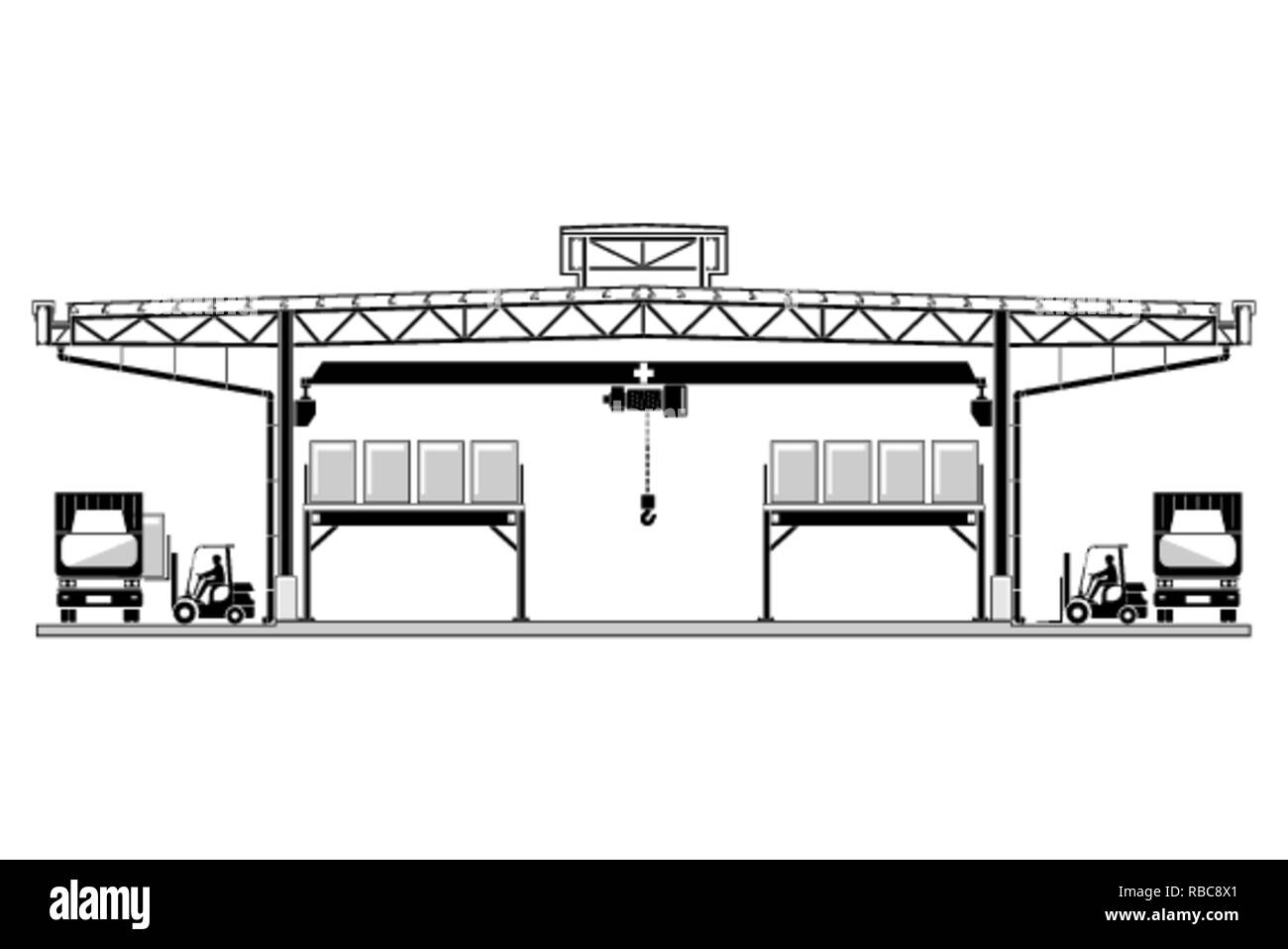 Warehouse, factory section, roof frame structure design