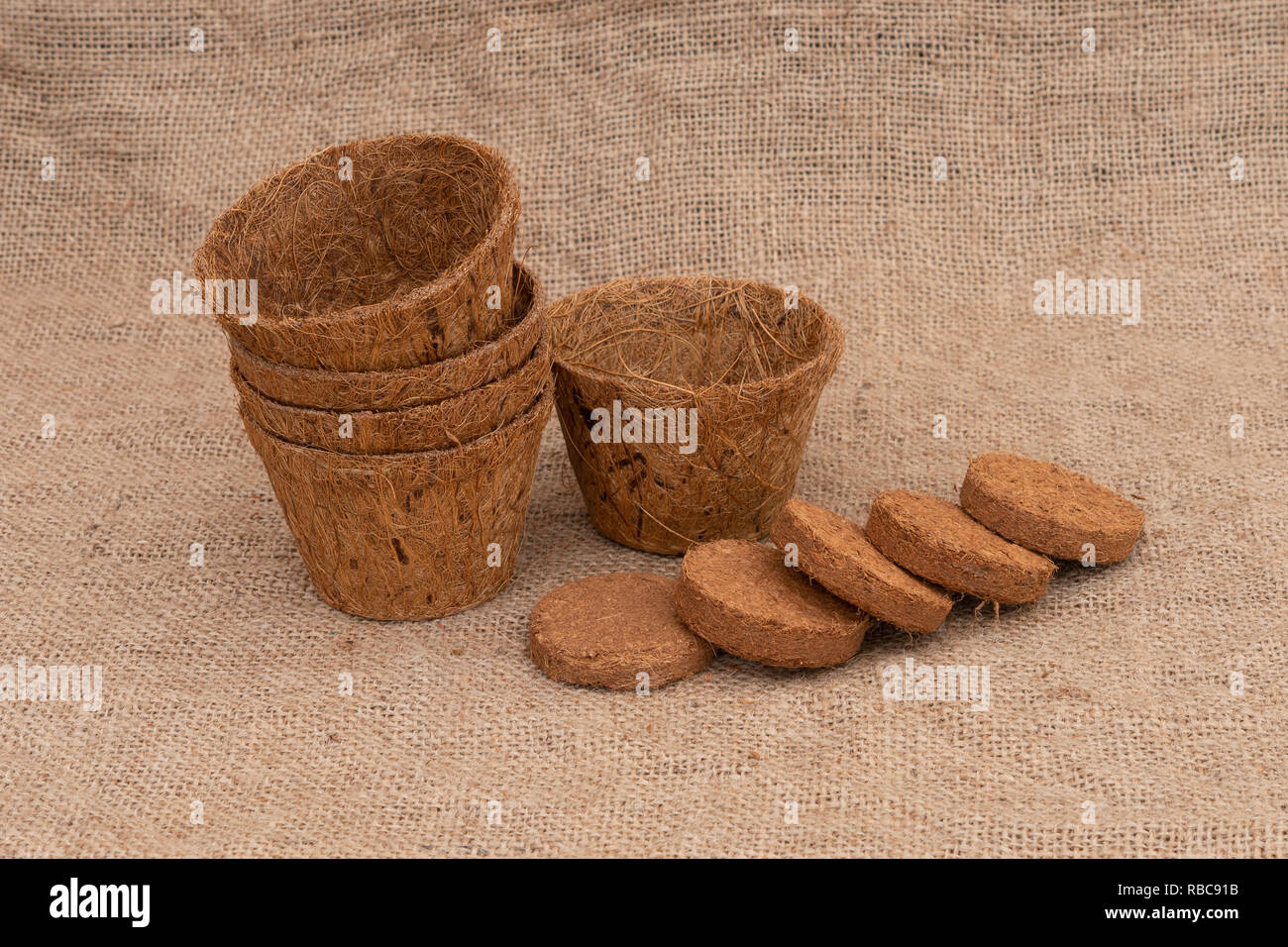Coir plant pots and compressed compost on hessian. Environmentally friendly spring gardening. - Stock Image