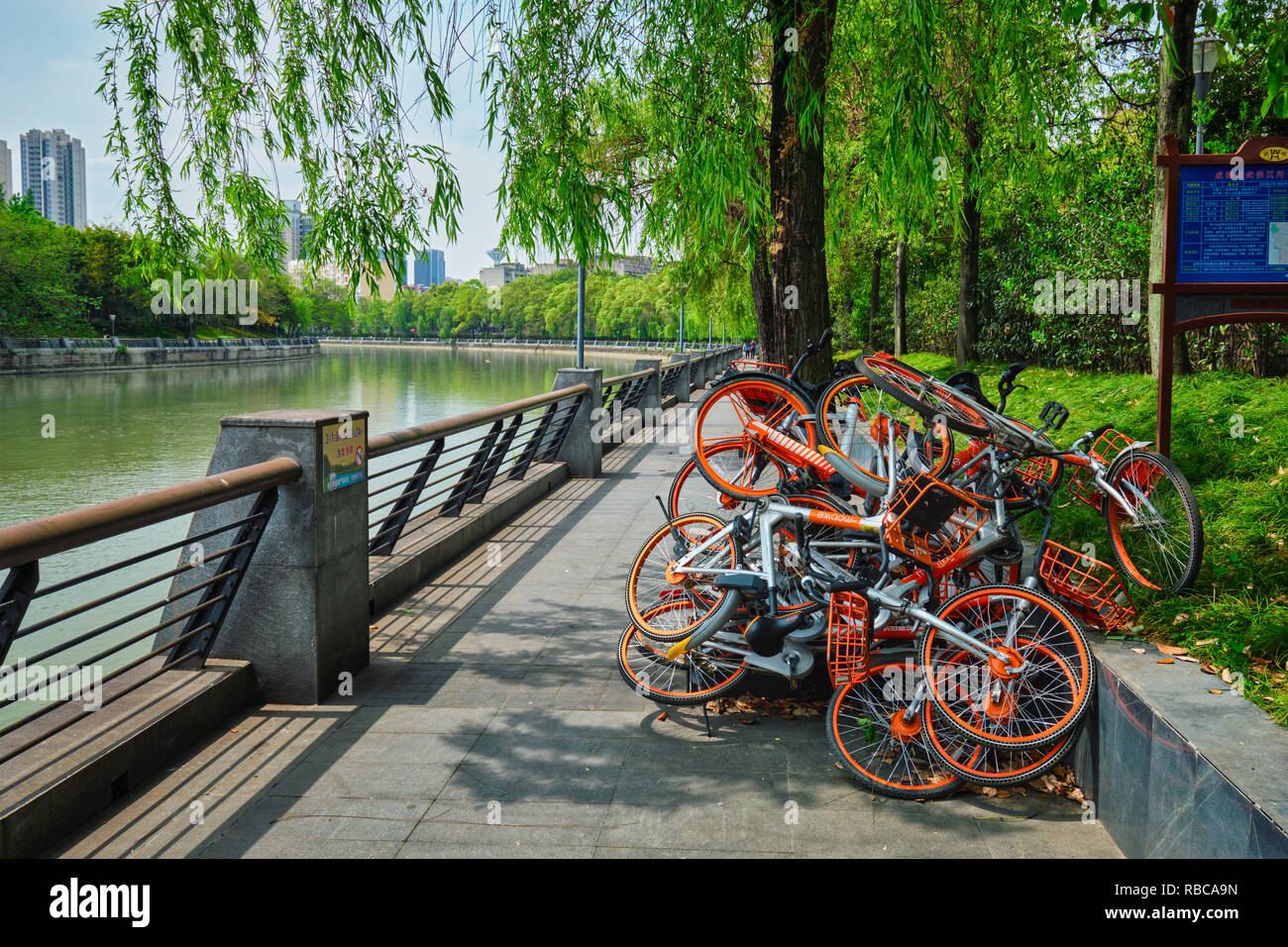 Mobike bikes for share in Chengdu, Sichuan, China - Stock Image