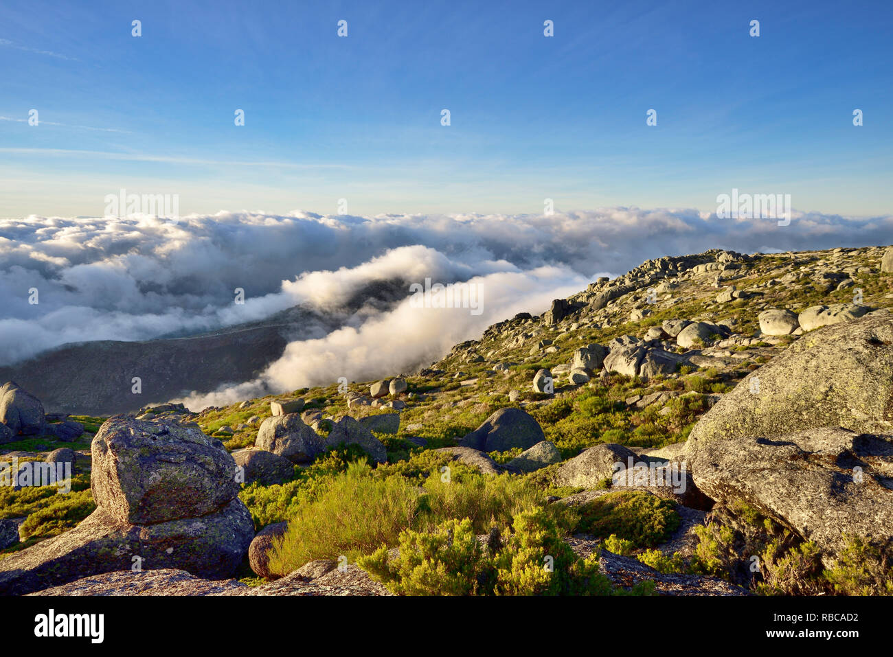 The top of the highest mountain range in Continental Portugal, 2000m. Serra da Estrela Nature Park, Portugal - Stock Image