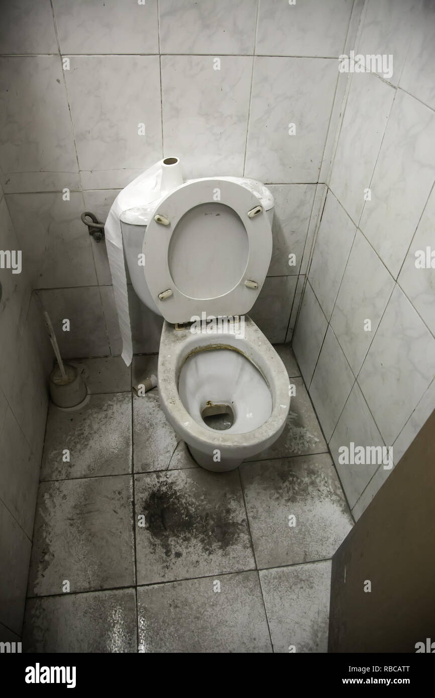 Toilet dirty and full of dust, unhygienic room, abandonment - Stock Image