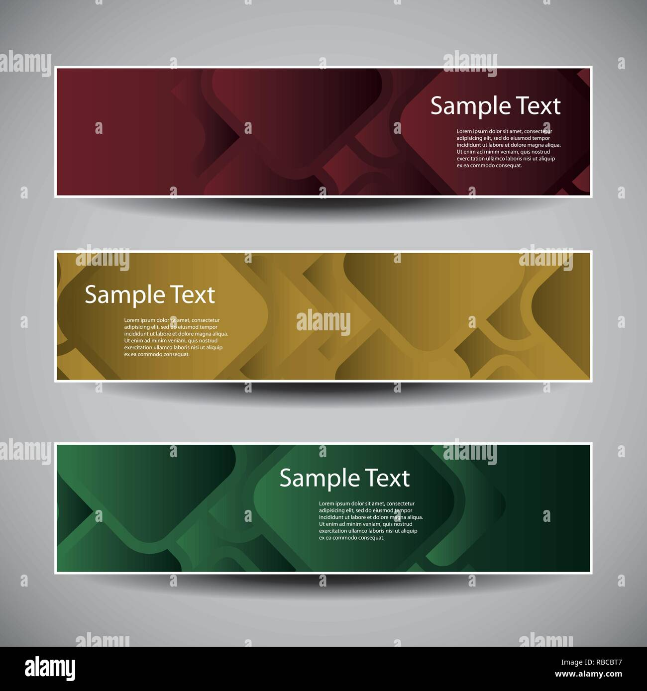 Set of Three Colorful Modern Styled Creative Headers or Banner Designs with Abstract Pattern - Illustration in Freely Scalable and Editable Vector - Stock Vector
