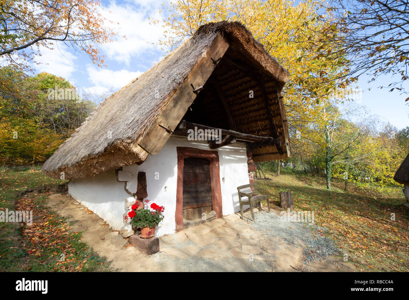 The so called `Row of Wine Cellars` open-air museum in Cak, Hungary. Small house for pressing grapes and storing fruits, especially sweet chestnut, bu - Stock Image