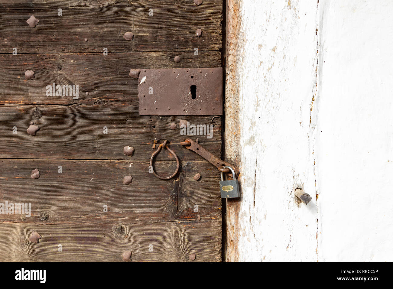 The door of a building in the so called `Row of Wine Cellars` open-air museum in Cak, Hungary. Small house for pressing grapes and storing fruits, esp - Stock Image