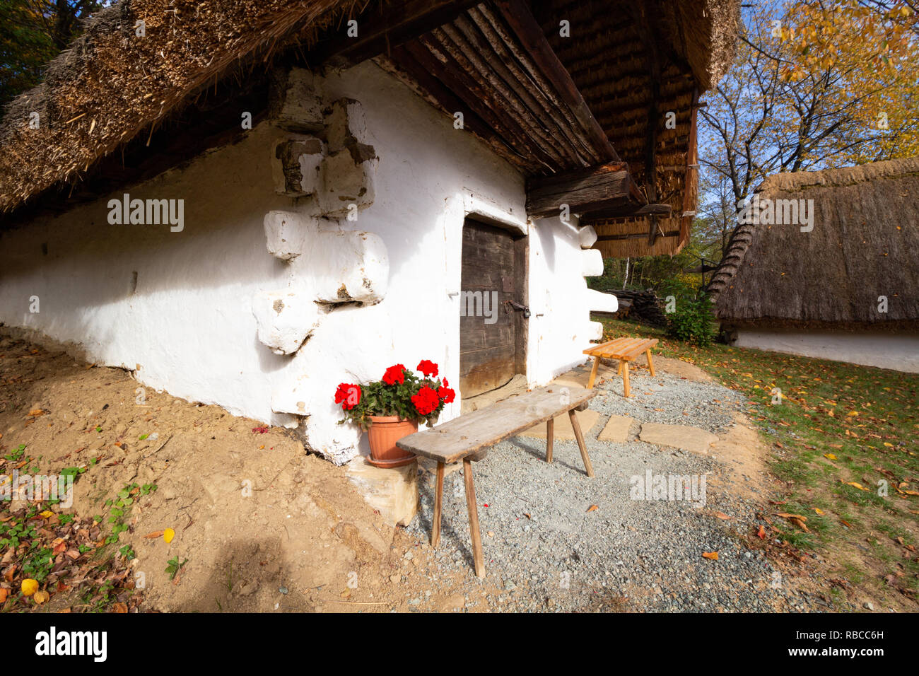 A single building from the so called `Row of Wine Cellars` open-air museum in Cak, Hungary. Small house for pressing grapes and storing fruits, especi - Stock Image