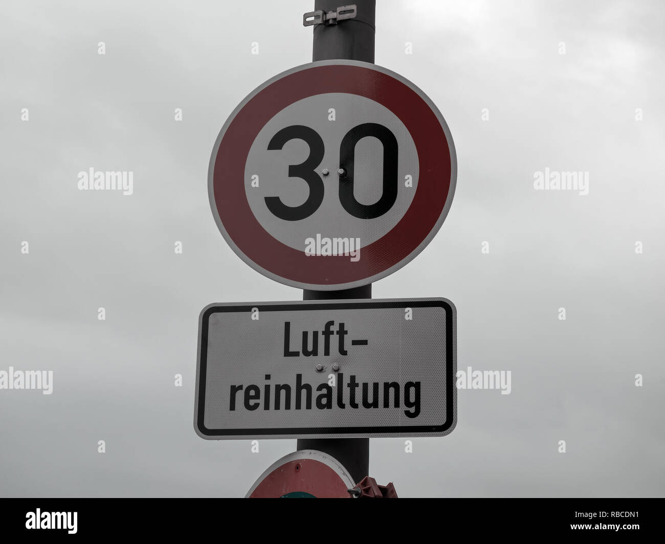 Traffic Sign Speed Limit 30 For Luftreinhaltung, Meaning Air