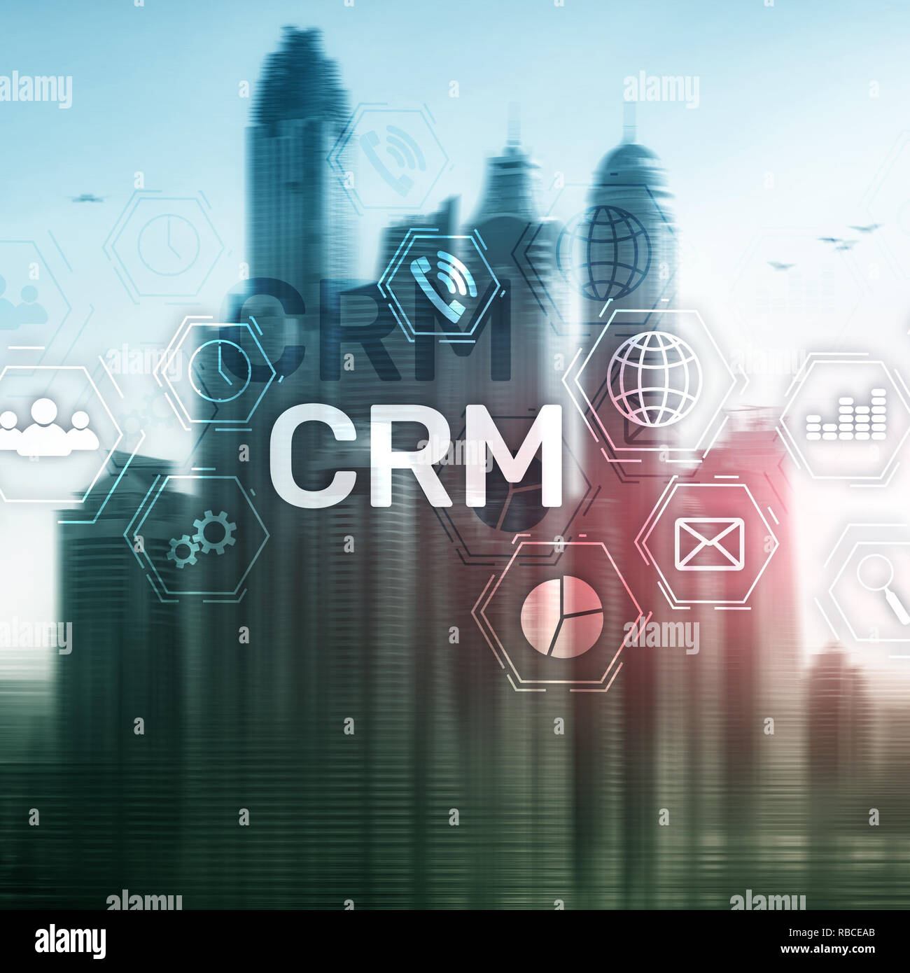 CRM, Customer relationship management system concept on abstract blurred background. - Stock Image