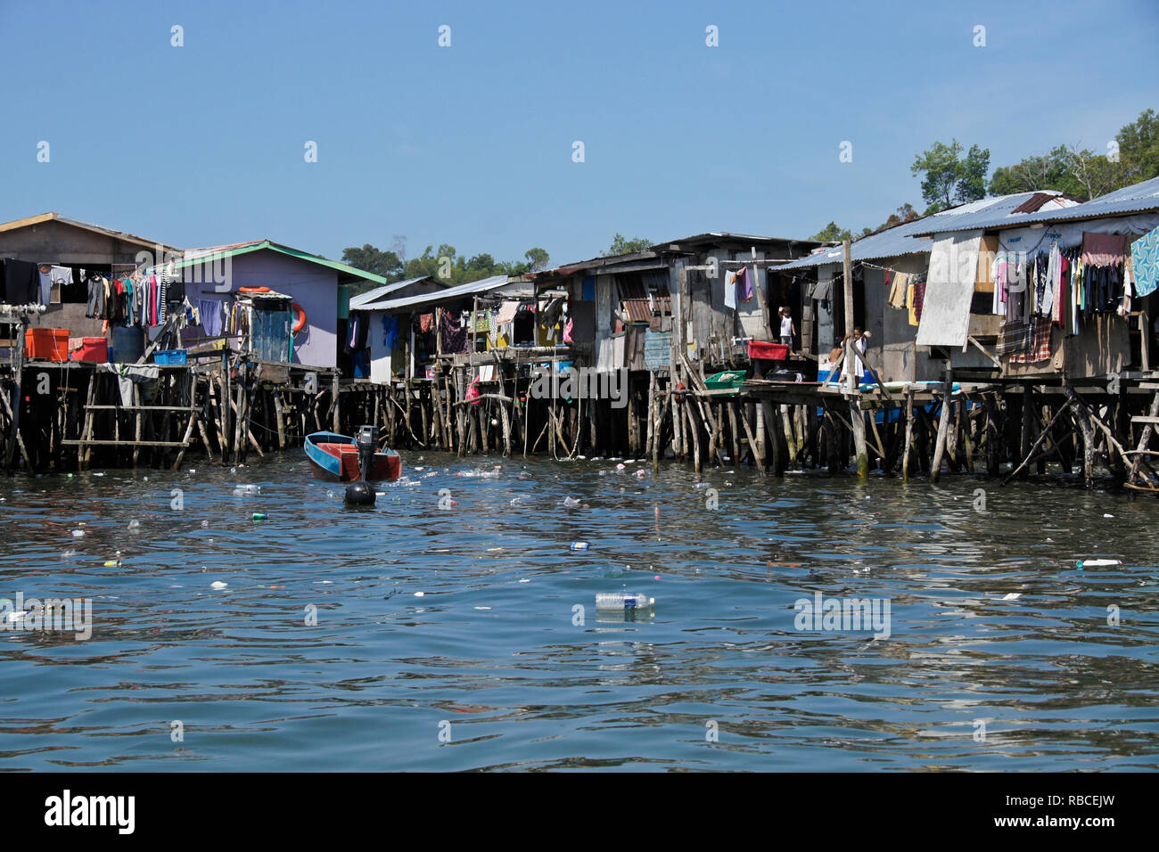 Stilt village in South China Sea near Kota Kinabalu, Sabah (Borneo), Malaysia - Stock Image