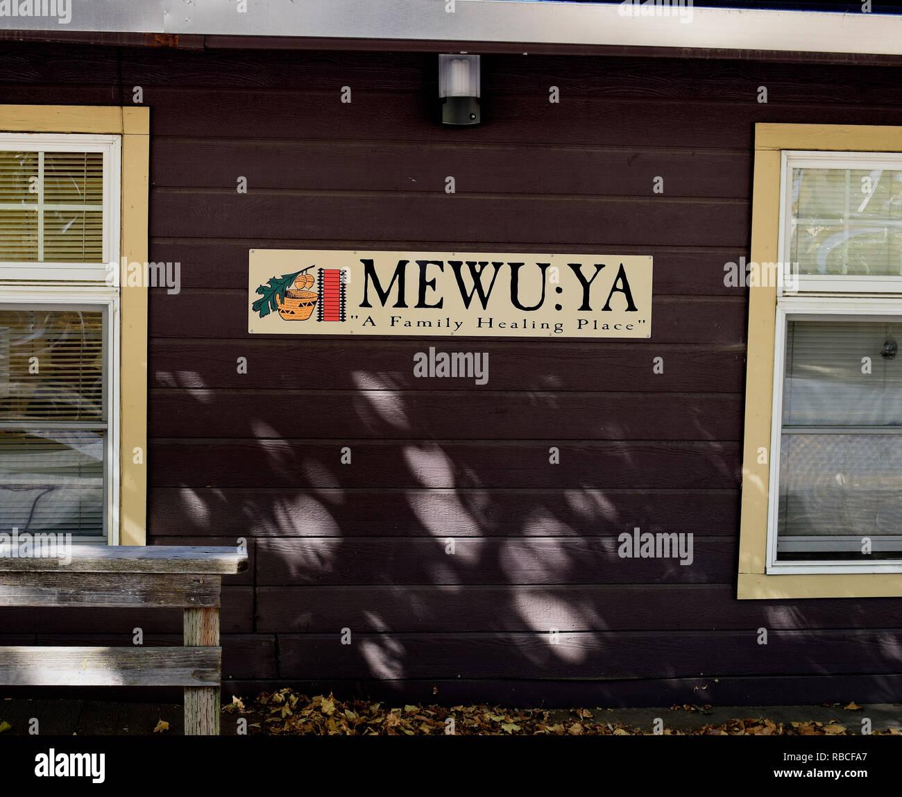 MEWU:YA Family Healing place sign, Tuolumne, California - Stock Image