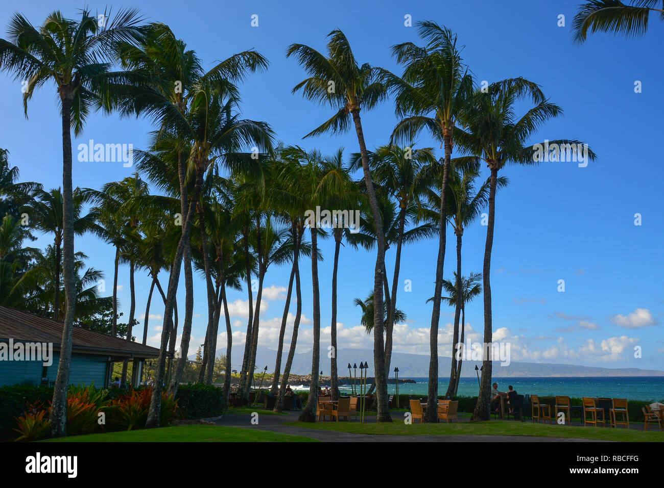 DT Fleming Beach Park, Northwest Maui, Hawaiian Islands. Beautiful white sand beach with good swimming (has lifeguard), restrooms, and picnic area - Stock Image